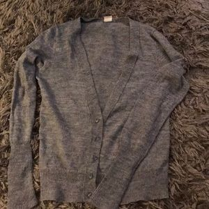 J. Crew grey sweater with rhinestone button detail